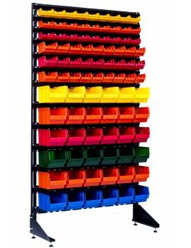 Стеллаж метизный с пластиковыми ящиками 90 шт