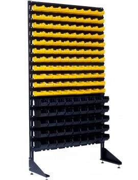 Витрины в магазине запчастей с пластиковыми метизными лотками - 144 контейнера
