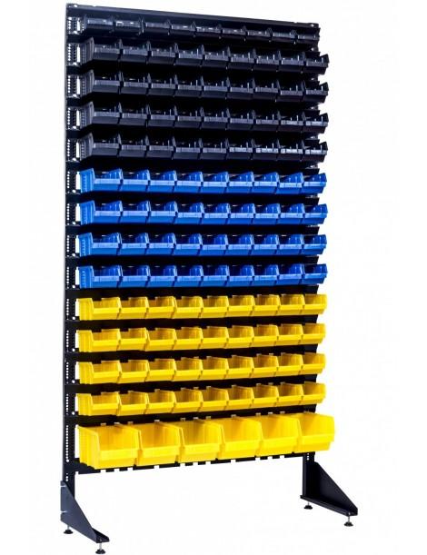 Стеллаж складской - 123 лотка - с ящиками пластиковыми под запчасти