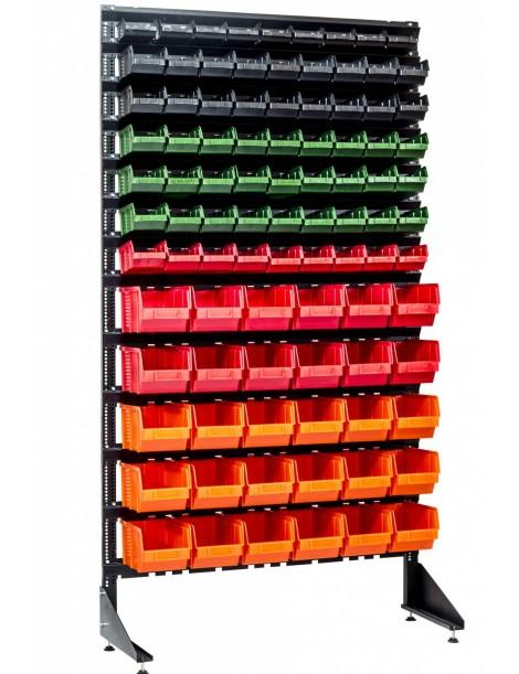 Односторонний стеллаж с контейнерами пластиковыми для производства - 93 лотка
