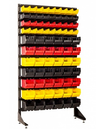 Пристенный стеллаж на 78 пластиковых ячейки для метизов, мелких товаров и инструментов