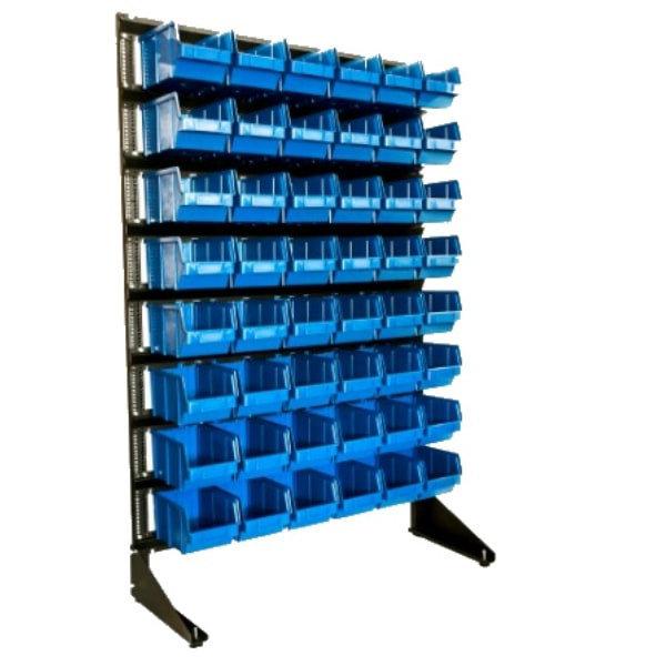 пристенный односторонний стеллаж с пластиковыми лотками под крепежи
